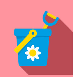 Toy bucket shovel icon flat style vector