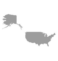 usa map grey colored on a white background vector image