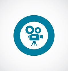 video camera icon bold blue circle border vector image vector image