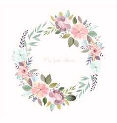 Watercolor with floral wreath vector