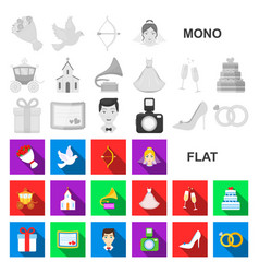 wedding and attributes flat icons in set vector image