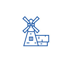 windmill house line icon concept windmill house vector image