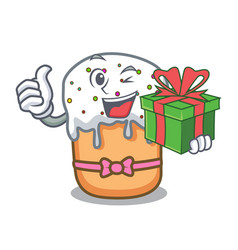 With gift easter cake mascot cartoon vector