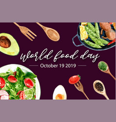 World food day frame design with avocado spoon vector