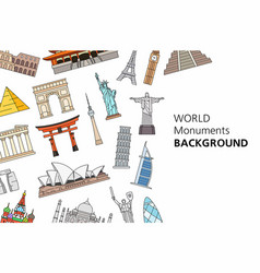 world monuments background vector image