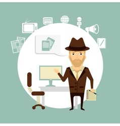 journalist talks about working in his office vector image vector image