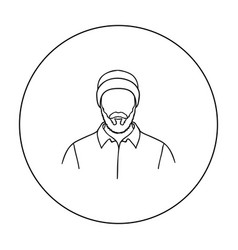 lumberjack icon in outline style isolated on white vector image vector image