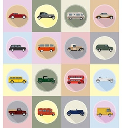 Old retro transport flat icons 19 vector