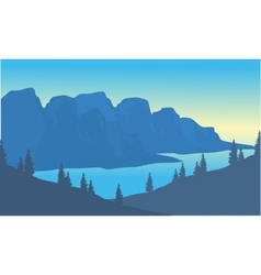 Silhouette of river and mountain background vector image vector image