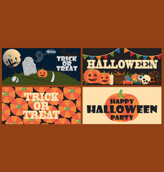 trick or treat set of posters vector image