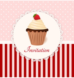 Vintage invitation card with strawberry cream cake vector image vector image