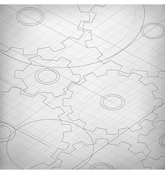 Blueprint of cogwheels Engineer and architect vector image