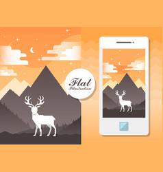 flat landscape with deer flat vector image