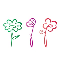 outlined hand drawn flowers collection vector image