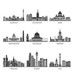 World Famous Cityscapes Black Icons Set vector image vector image