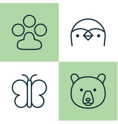 zoology icons set collection of diver claw print vector image
