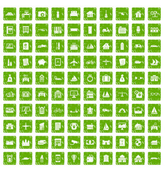 100 property icons set grunge green vector image vector image