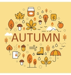Autumn Line Art Thin Icons Set with Umbrella vector image