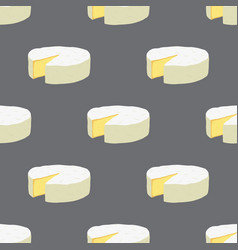 cartoon camembert cheese seamless pattern vector image vector image
