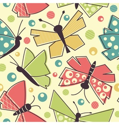 Colorful flying butterflies seamless pattern vector image vector image