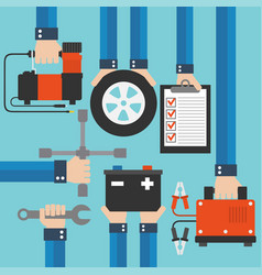 car service and repairing equipment concept design vector image vector image