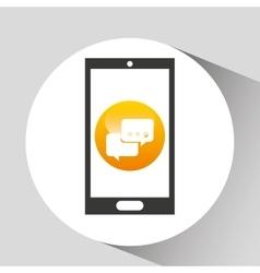 device mobile icon bubble speech social media vector image