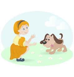 Little girl with happy dog vector