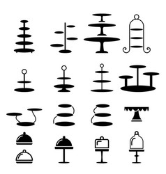 Set of cake stand in silhouette icon vector