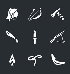 set of indians weapons icons vector image vector image