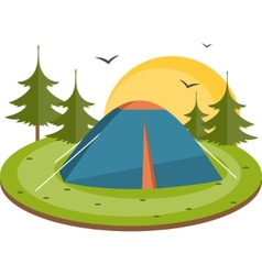 Tent in the meadow Flat vector image