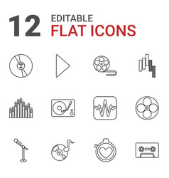 12 record icons vector
