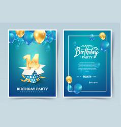 14th years birthday invitation double card vector