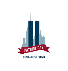 911 patriot day card with twin towers usa vector image