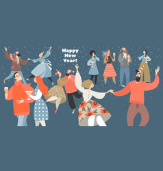 a new year party with funny people vector image