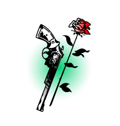 A tattoo a revolver and roses vintage tattoo vector