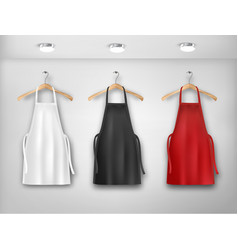 A white red and black aprons mockup aprons vector