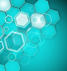 Abstract turquoise background hexagon vector