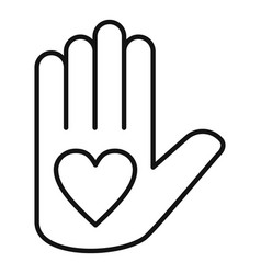 Affection heart hand icon outline style vector