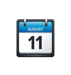 August 11 Calendar icon flat vector image vector image