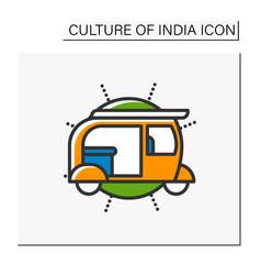 Auto rickshaw color icon vector