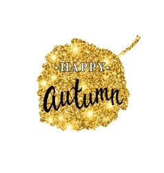 Autumn brush lettering Gold glitter banner vector