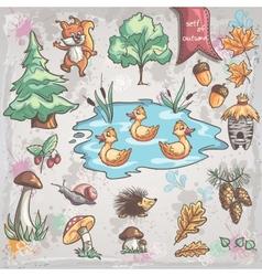 Autumn set images trees animals fungi vector