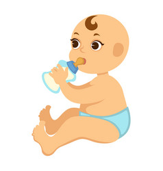 baby boy in diapers drinks milk from bottle with vector image