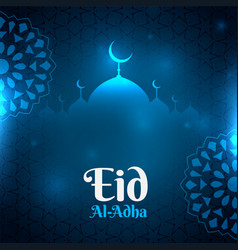 Blue eid al adha glowing background with mosque vector