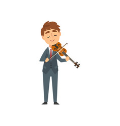boy playing violin talented young violinist vector image
