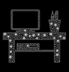 Bright mesh 2d computer desk with flash spots vector