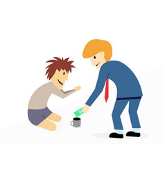 businessman donate money to disabled beggar vector image