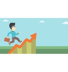 Businessman running along the growth graph vector image