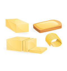 Butter icon set cartoon style vector