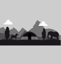 campsite place in safari black and white vector image